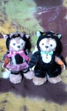 ディズニーTDS2014ハロウィン黒猫コスダッフィーシェリーメイぬいぐるみバッチ