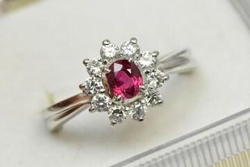 Pt900 ルビー ダイヤモンド リング 8.5号 指輪