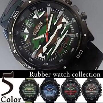 【送料無料】迷彩柄ラバー腕時計/カラー:グリーン