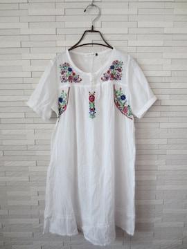 即決/LEPSIM/お花刺繍半袖スモックフレアコットンワンピース/白