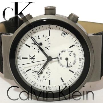 美品 1スタ カルバンクライン/CK【クロノグラフ】腕時計