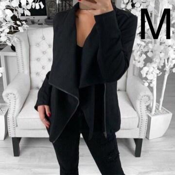 新品☆シンプル♪ななめジップ付きジャケット ブラック M