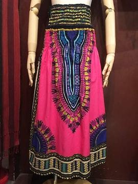 アフリカ民族衣装ダシキ柄ロングスカート★ピンク★ゆったりめ★
