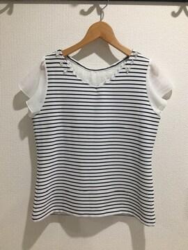 ミッシュマッシュ 半袖 トップス Tシャツ ボーダー 白 ホワイト