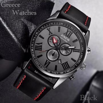 腕時計 時計 ギリシャ文字 日付 アナログ クォーツ レザー 黒