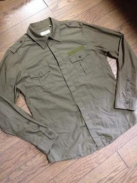 美品EDIFICE  レザー使用ミリタリーシャツ 日本製 エディフス