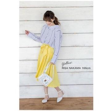 新品◆ウエストリボン付フィッシュテール フレアースカートM黄色