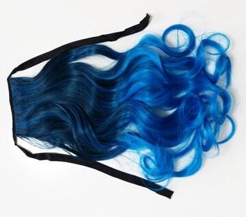 新品[7637]黒X青グラデーションカラーリボン付ポニーテールウィッグ