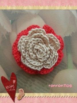 ハンドメイド/手編み♪レース編み2色のお花モチーフ 138