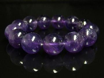 高貴な輝きを放つパワーストーン 天然アメジストブレスレット 16ミリ数珠
