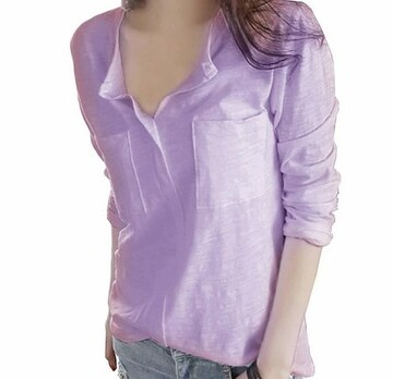 Vネック カットソー スキッパーシャツ (パープル、Lサイズ)