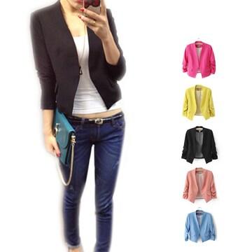 【送料無料】☆シンプルでオシャレ♪ショート丈テーラードジャケット/全5色