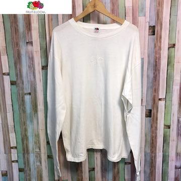 90's ビンテージ FRUIT OF THE ROOM 刺繍 長袖Tシャツ