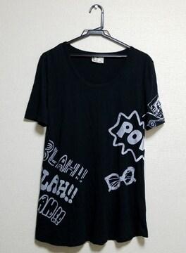 ☆送料無料☆SLY☆落書きプリント/オーバーサイズTシャツ☆ブラック 1☆美品☆