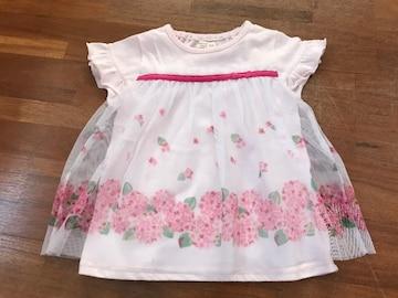良好『ビケットクラブ』淡ピンク★お花柄チュールチュニック95