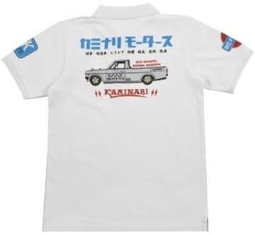 カミナリ雷/サニトラ/ポロシャツ/白/kmps-200/エフ商会/テッドマン/カミナリモータース