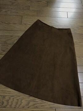 フレームワーク ブラウン茶フェイクスエード膝丈フレアスカート