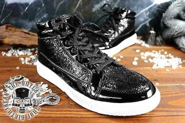 送料込 ラメ ハイカット スニーカー 靴 メンズ シューズ 厚底 オラオラ ダンス 107黒27.0