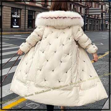 〜3L【大きいサイズ】取り外し可能ファー付きフード☆中綿ダウンロング丈コート