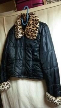 ★S.SOC オシャレデザイン 襟 袖口 豹柄 ダウンタイプ ジャケット ジャンバー●