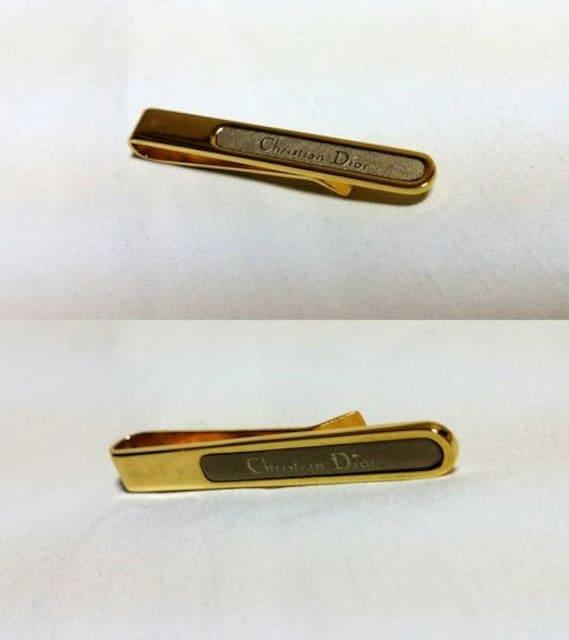 正規レア ディオールDior ロゴコントラストネクタイピン ゴールド×シルバー ヴィンテージ < ブランドの