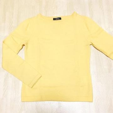 【used】丸首長袖ウールセーター/WR/イエロー/Mサイズ