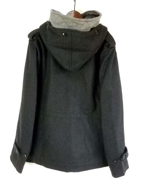 WダブルフードウールショートコートMチャコール新品※2点送料無料 < 男性ファッションの