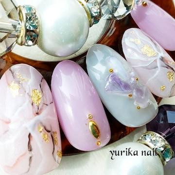 ジェル★くすみピンク×パープル天然石