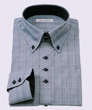 LLサイズ高貴紳士的!形態安定デザイン長袖ワイシャツ(ドゥエボタンダウン)紺系色