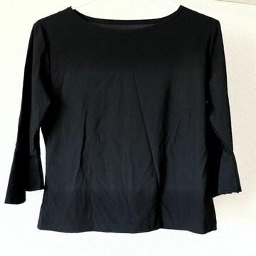 ダンス フラメンコ レッスン着 袖フリル 七分袖 ポリエステル M〜Lくらい 黒ブラック