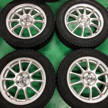 0082816)国産スタッドレスタイヤ美品社外アルミホイ-ルセット175/65R15送料無料