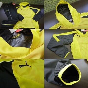M 黒黄)pumaプーマ★ピステ上下 裏地付 被りフード裾ファスナー654710