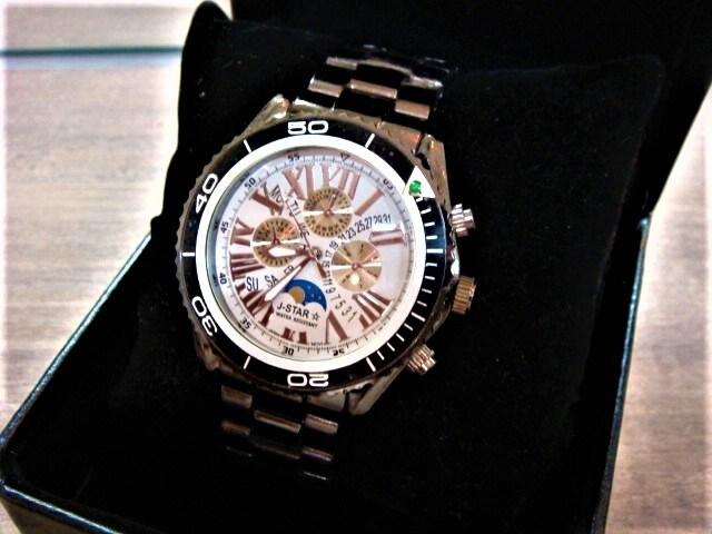 新作希少◆ブラックベルトムーンフェイスTYPE 高級J-STAR腕時計 < 男性アクセサリー/時計の