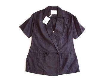 新品 定価9975円 ラグナムーン 黒 リネン混 麻 半袖 ジャケット