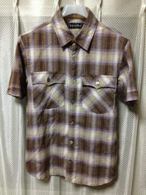 ラウンジリザード チェック柄 半袖シャツ Sサイズ1 細身 茶色×グレー 日本製 ロック  < ブランドの