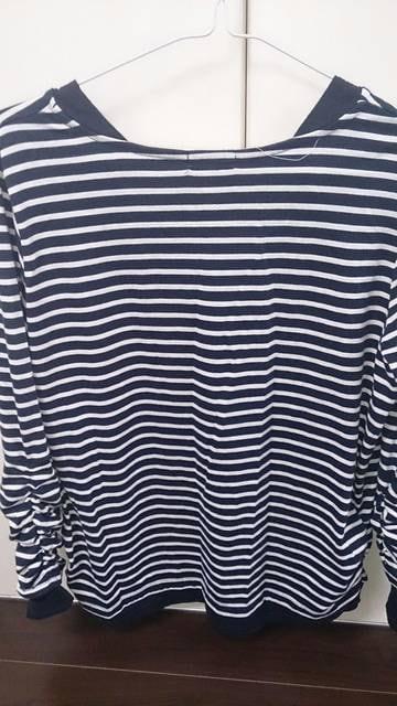 ネイビーボーダーシャツ★指穴付★3L < 女性ファッションの