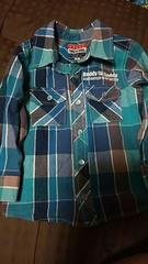 daddyondaddy★アメカジシャツ★水色チェックシャツsize90