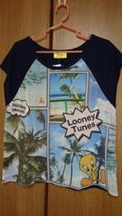 Tシャツ*フレンチ袖*キャラクタープリント*紺/ネイビー*M