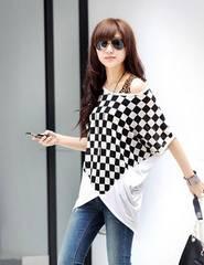 0213-71555大きいサイズ☆チェッカーフラッグ柄裾チュニック☆ホワイト