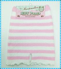 ★キッズ♪ふわふわ暖かパンツ 適応サイズ腰囲58〜84cm (ピンク×白)