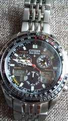 シチズンプロマスターエコドライブソーラー充電ナビホークデジアナデジチタン腕時計