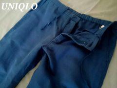 【UNIQLO】リネンコットンイージーパンツ M/Blue 麻&綿