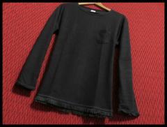 裾フリンジツイストスラブニットソー Tシャツ L/BLK/M