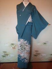 ターコイズ/松刺繍色留正絹160新同比翼付