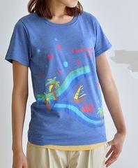 サマータイムカジュアルプリントTシャツ 杢ブルー系 Mサイズ