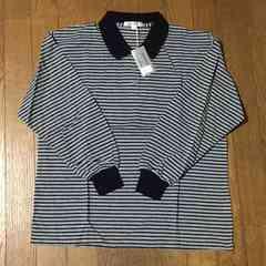 男性用 黒×グレー ボーダー長袖Tシャツ Mサイズ