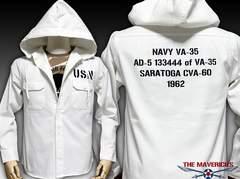 US.NAVY米海軍・長袖ミリタリーシャツパーカーXL/ホワイト白