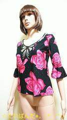 ☆美品☆胸元スパン盛り�A大薔薇柄カットソーT100☆3点で即落☆