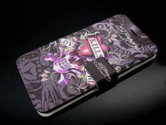 iPhone8/7手帳型レザーケース★エドハーディー★スカル/人魚姫