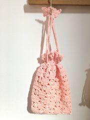 ♪手編み♪ ニットの巾着  ピンク